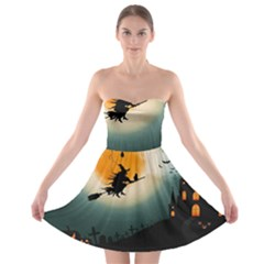 Halloween Landscape Strapless Bra Top Dress