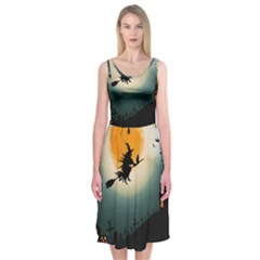 Halloween Landscape Midi Sleeveless Dress