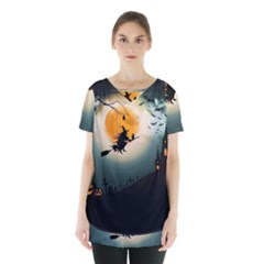 Halloween Landscape Skirt Hem Sports Top