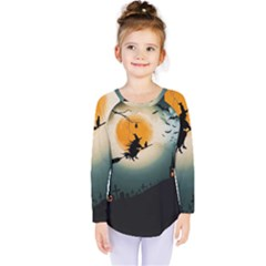 Halloween Landscape Kids  Long Sleeve Tee