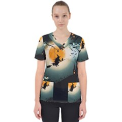Halloween Landscape Scrub Top