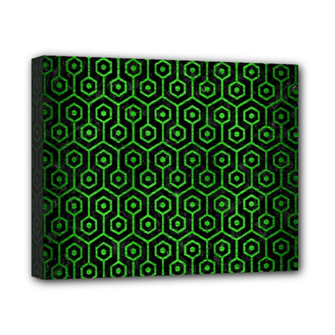 Hexagon1 Black Marble & Green Brushed Metal Canvas 10  X 8
