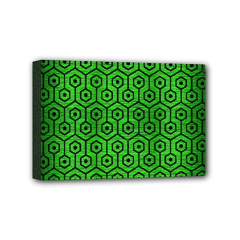 Hexagon1 Black Marble & Green Brushed Metal (r) Mini Canvas 6  X 4