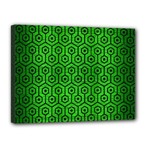 Hexagon1 Black Marble & Green Brushed Metal (r) Canvas 16  X 12