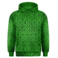 Hexagon1 Black Marble & Green Brushed Metal (r) Men s Pullover Hoodie