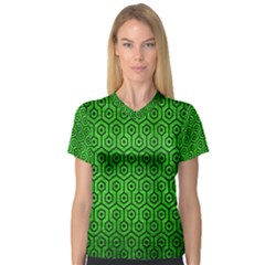 Hexagon1 Black Marble & Green Brushed Metal (r) V Neck Sport Mesh Tee