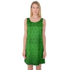 Hexagon1 Black Marble & Green Brushed Metal (r) Sleeveless Satin Nightdress