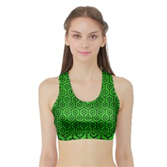 Hexagon1 Black Marble & Green Brushed Metal (r) Sports Bra With Border