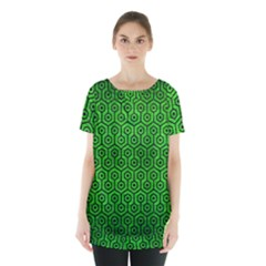 Hexagon1 Black Marble & Green Brushed Metal (r) Skirt Hem Sports Top