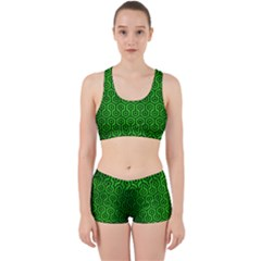 Hexagon1 Black Marble & Green Brushed Metal (r) Work It Out Sports Bra Set