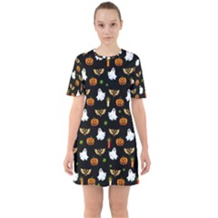 Halloween Pattern Sixties Short Sleeve Mini Dress