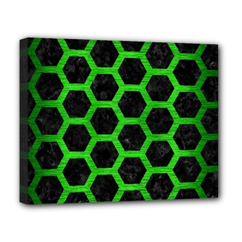 Hexagon2 Black Marble & Green Brushed Metal Deluxe Canvas 20  X 16