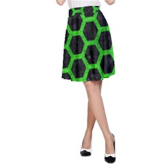 Hexagon2 Black Marble & Green Brushed Metal A Line Skirt