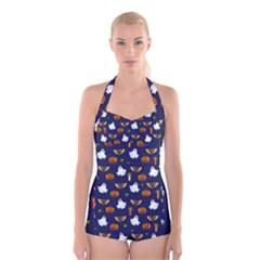Halloween Pattern Boyleg Halter Swimsuit