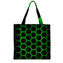 Hexagon2 Black Marble & Green Brushed Metal Zipper Grocery Tote Bag