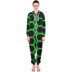 Hexagon2 Black Marble & Green Brushed Metal Hooded Jumpsuit (ladies)