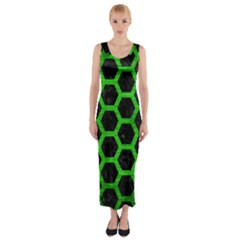 Hexagon2 Black Marble & Green Brushed Metal Fitted Maxi Dress
