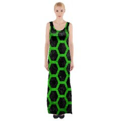 Hexagon2 Black Marble & Green Brushed Metal Maxi Thigh Split Dress