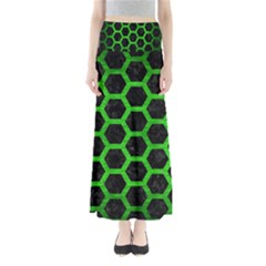 Hexagon2 Black Marble & Green Brushed Metal Full Length Maxi Skirt