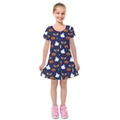 Halloween Pattern Kids  Short Sleeve Velvet Dress