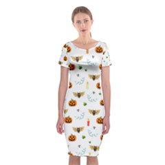 Halloween Pattern Classic Short Sleeve Midi Dress