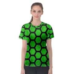 Hexagon2 Black Marble & Green Brushed Metal (r) Women s Sport Mesh Tee