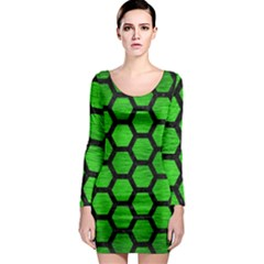 Hexagon2 Black Marble & Green Brushed Metal (r) Long Sleeve Bodycon Dress