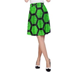 Hexagon2 Black Marble & Green Brushed Metal (r) A Line Skirt