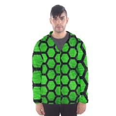Hexagon2 Black Marble & Green Brushed Metal (r) Hooded Wind Breaker (men)
