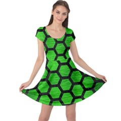 Hexagon2 Black Marble & Green Brushed Metal (r) Cap Sleeve Dress