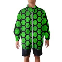 Hexagon2 Black Marble & Green Brushed Metal (r) Wind Breaker (kids)