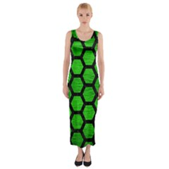 Hexagon2 Black Marble & Green Brushed Metal (r) Fitted Maxi Dress