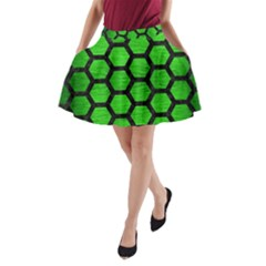 Hexagon2 Black Marble & Green Brushed Metal (r) A Line Pocket Skirt