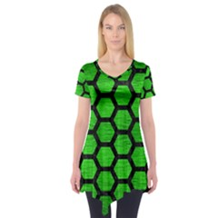 Hexagon2 Black Marble & Green Brushed Metal (r) Short Sleeve Tunic