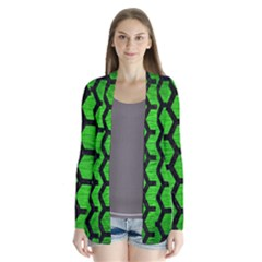 Hexagon2 Black Marble & Green Brushed Metal (r) Drape Collar Cardigan