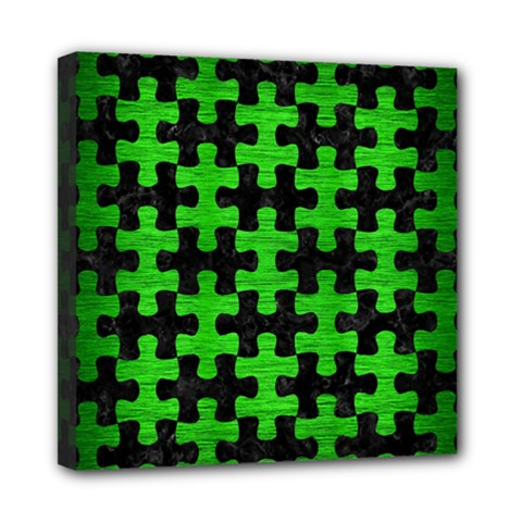 Puzzle1 Black Marble & Green Brushed Metal Mini Canvas 8  X 8