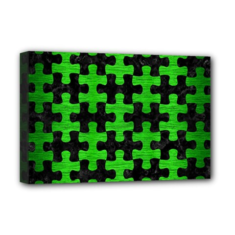 Puzzle1 Black Marble & Green Brushed Metal Deluxe Canvas 18  X 12