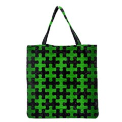 Puzzle1 Black Marble & Green Brushed Metal Grocery Tote Bag