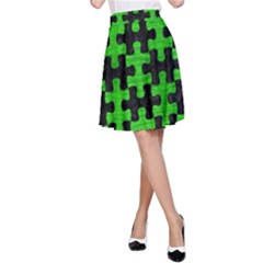 Puzzle1 Black Marble & Green Brushed Metal A Line Skirt