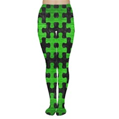 Puzzle1 Black Marble & Green Brushed Metal Women s Tights