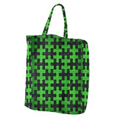 Puzzle1 Black Marble & Green Brushed Metal Giant Grocery Zipper Tote