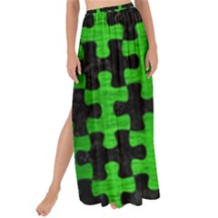 Puzzle1 Black Marble & Green Brushed Metal Maxi Chiffon Tie Up Sarong