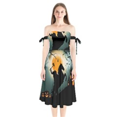 Headless Horseman Shoulder Tie Bardot Midi Dress