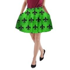 Royal1 Black Marble & Green Brushed Metal A Line Pocket Skirt