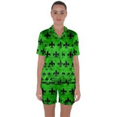 Royal1 Black Marble & Green Brushed Metal Satin Short Sleeve Pyjamas Set
