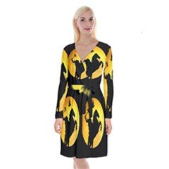 Headless Horseman Long Sleeve Velvet Front Wrap Dress