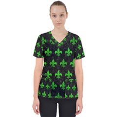 Royal1 Black Marble & Green Brushed Metal (r) Scrub Top
