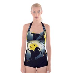 Headless Horseman Boyleg Halter Swimsuit