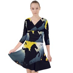 Headless Horseman Quarter Sleeve Front Wrap Dress