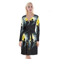 Headless Horseman Long Sleeve Velvet Front Wrap Dress